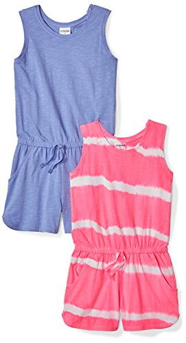 Zebra Dye - Spotted Zebra Little Girls' 2-Pack Knit Sleeveless Tank Rompers, Purple/Tie Dye, X-Small (4-5)