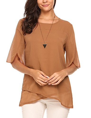 ELESOL Women's Chiffon Blouse Loose Layered Flowy Casual Shirts Ruffle Half Sleeve Top Dark Brown