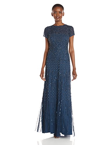 Adrianna Papell Women's Short Fully Beaded Gown with Cap Sleeves, Deep Blue, 12