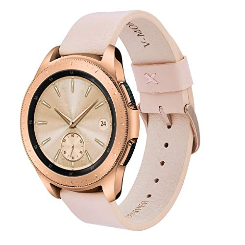 V-MORO Leather Strap Compatible with Galaxy Watch 42mm Band/Galaxy Watch Active 40mm Bands with Rose Gold Stainless Steel Buckle for Samsung Galaxy Watch Active 40mm R500/Galaxy Watch 42mm R810 Pink