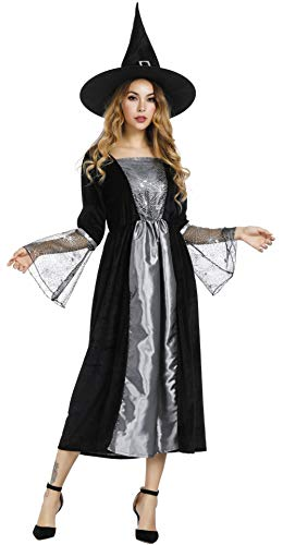 frawirshau Women's Witch Costume Long Sorceress Classic Dress Halloween Party Cosplay Costumes with Witch Hat 2XL