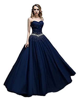 APXPF Women's Long Tulle Beaded Princess Quinceanera Dress Prom Ball Gown
