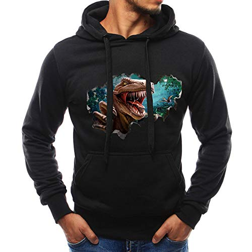 Jacket Leather Shift (Christmas Men's Black Lightweight Jacket Hoodie 3D Dinosaur Casual Sweatshirt Slim Pocket Outdoor Sport Outwear Tops)