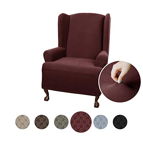 (Maytex Pixel Ultra Soft Stretch Wing Back Arm Chair Furniture Cover Slipcover, Wine)