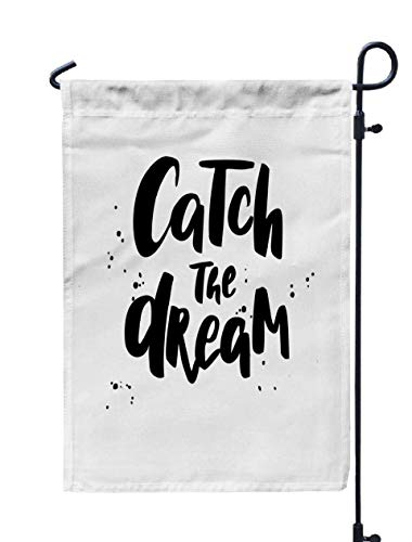 (Shorping Welcome Garden Flag, 12x18Inch Catch The Dream Boho Style Phrase Inspirational and Motivational for Holiday and Seasonal Double-Sided Printing Yards)