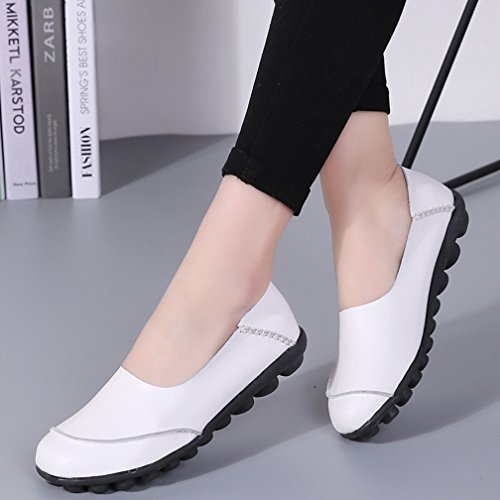 Soft Sole amp; Casual Flats Loafers Women's Ons Slip Walking Driving Hishoes Moccasins White Leather Shoes qxP7FZwwt