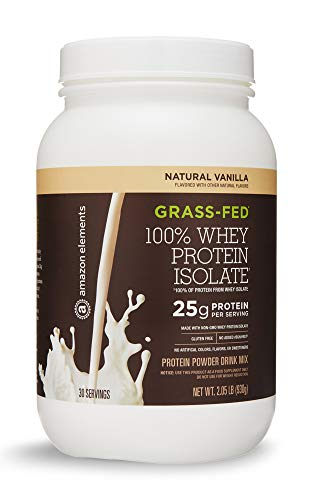 (Amazon Elements Grass-Fed 100% Whey Protein Isolate Powder, Natural Vanilla , 2.05 lbs (30 Servings))