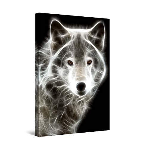 STARTONIGHT Wall Art Canvas White Wolf, Animals Framed 24 x 36 Inches ()