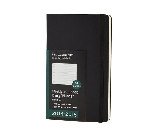 2014-2015 Weekly Notebook Diary / Planner, Hard Cover, Black,18 Month