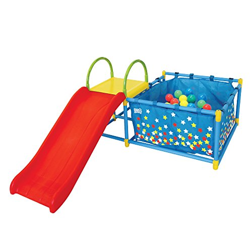 Eezy Peezy Active Play 3 in 1 Jungle Gym Foldable PlaySet – Includes Slide, Ball Pit, & Toss Target 50 Colorful Balls