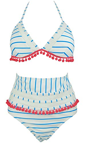 COCOSHIP Blue & White Striped Streak Mesh High Rise Bikini Set Red Pom Pom Tassel Trim Top Halter Straps Swimsuit Bathing Suit 6