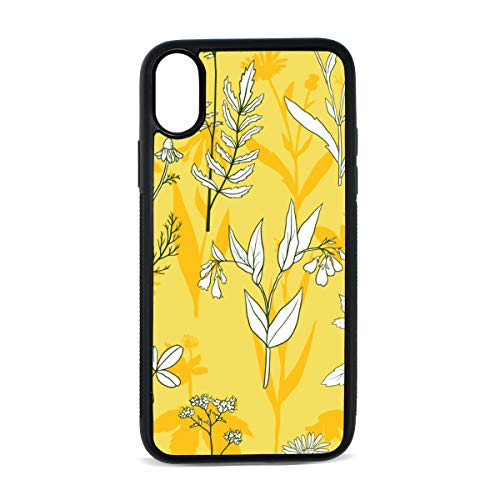 Calendula White Vintage Hand Drawn Digital Print TPU Pc Pearl Plate Cover Phone Hard Case Cell Phone Accessories Compatible with Protective Apple Iphonex/xs Case 5.8 Inch