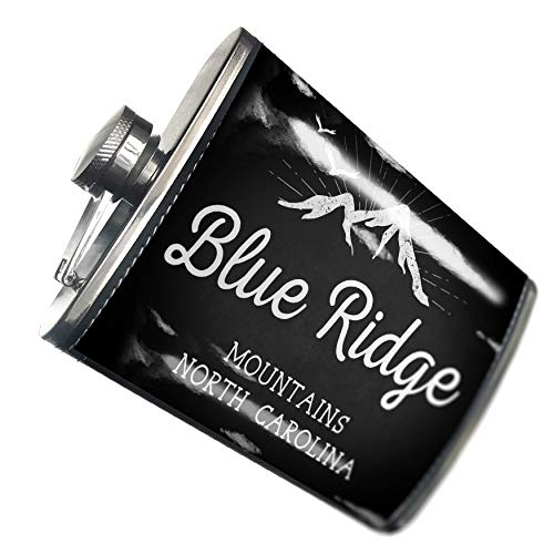 Blue Leather Ridge (NEONBLOND Flask Mountains chalkboard Blue Ridge Mountains - North Carolina Hip Flask PU Leather Stainless Steel Wrapped)