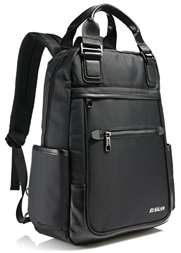 Ruggan Business Convertible Backpack For 14 Inch Laptop Water Resistant Lightweight Professional for Travel College and Office Black