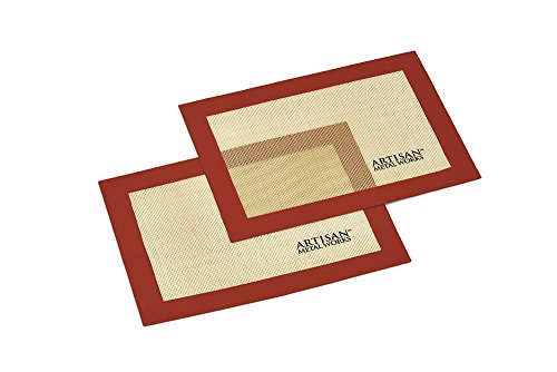 Artisan Silicone Baking Mat Set for Quarter-Size Cookie Sheet with Red Border, 11.25 x 8 inches, 2-Pack by Artisan