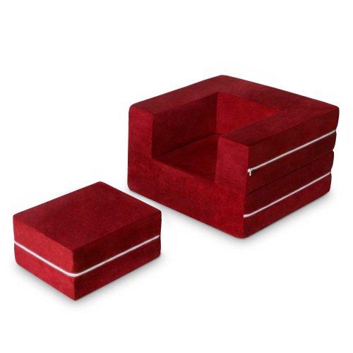 Jaxx Zipline Modular Kids Chair & Ottoman / Fold-Out Lounger, (Cherry Folding Ottoman)