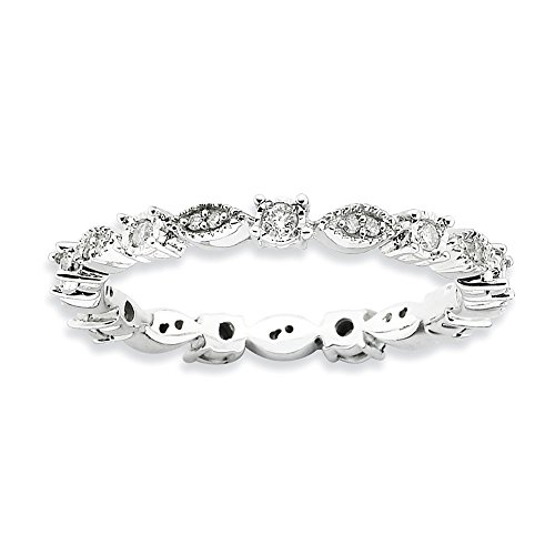 Diamond (I3, J-K 0.2 cttw) Size 10 Diamond Scroll 2.25mm Eternity Band Silver Stackable Expressions Ring by Stackable Expressions