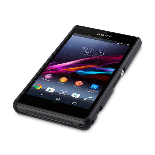 Terrapin Hybrid Rubberized Back Cover Hard Case for Sony Xperia Z1 Compact (Solid Black)