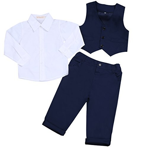 iEFiEL 3Pcs Kids Baby Boys Gentleman Tuxedo Wedding Outfits Top Shirt Pants with Vest Set (12-18 Months, Navy Blue+White)