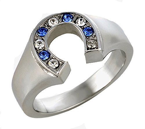 T10 Women's Stainless Steel Horseshoe Cowgirl Ring Blue Clear Rhinestones Horses Colts Rodeo Western Style (7)