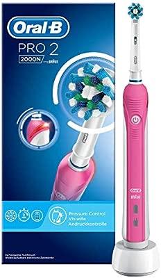 Oral-B Pro 2 2000 CrossAction Adulto Rosa - Cepillo de dientes eléctrico (Alemania, Batería, 266 g, 55 mm, 111 mm, 253 mm)