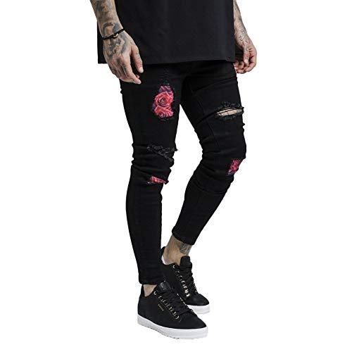 Noir Pantalon Silk Rose Sik large Bust L Denims Knee FH1qMRxwY