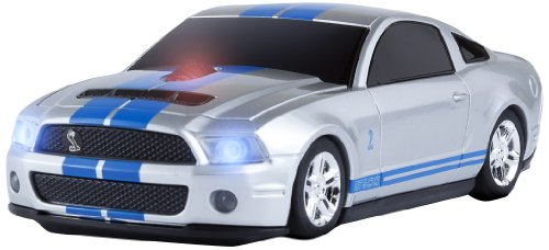 Car Mouse Ford Mustang - Road Mice Ford Shelby HP Wireless Mouse, Silver/Blue Stripes (HP-11FDSHSXB)