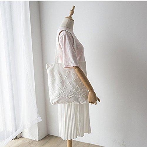 Yile zip in tela di cotone shopping borsa a spalla pizzo ricamato fiore ZT7261