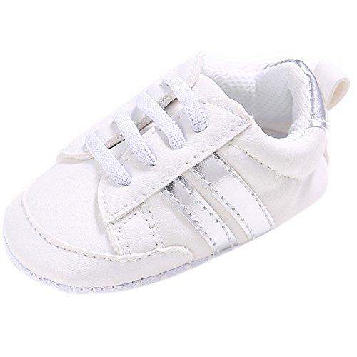 Fire Frog Baby Fashion Sneaker - Zapatos primeros pasos de Piel Sintética para niño blanco