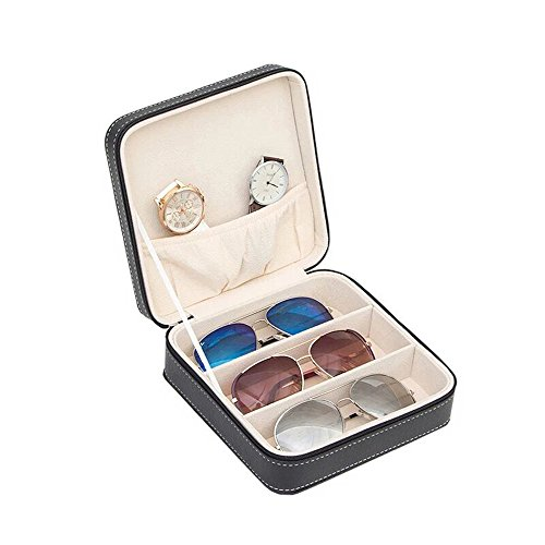 Aco&bebe House 3-Slot Travel Sunglass Organizer Collector - Faux Leather Jewelry Storage Case ()