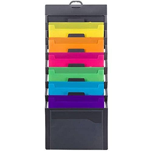 Organizador de pared Smead en cascada, 6 bolsillos, Tamaño carta, Bolsillos grises /brillantes (92060)