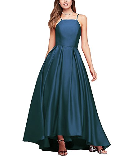 Women's Spaghetti Strap High Low Satin Prom Dresses Asymmetrical Formal Evening Party Gowns (Teal,12) (Asymmetrical Satin)