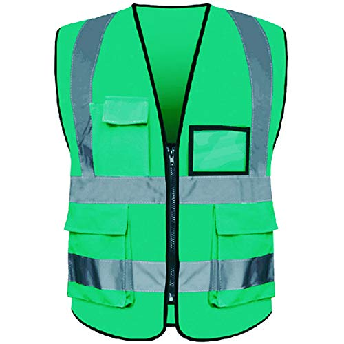 Neon Green Safety Vest - Reflective Safety Vest ANSI Class 2 High Visibility with 5 Pockets and Zipper XL 2XL Green