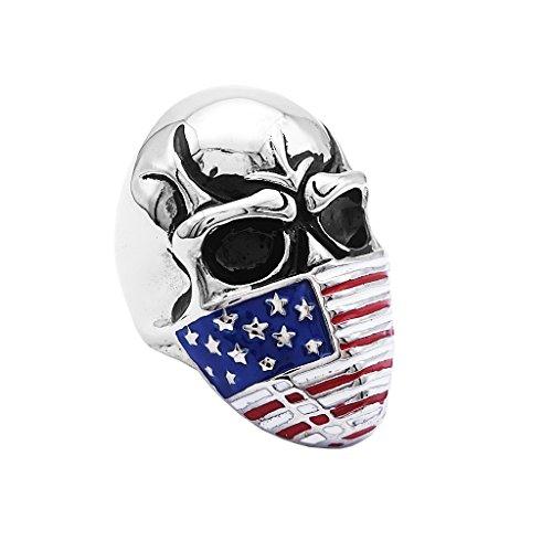 h Biker Rings Silver Skull Head Rings with Multi-color Flag Mask - US7 ()
