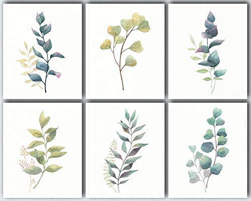 L & O Goods Botanical Wall Art Prints | Farmhouse, Home & Kitchen Decor | Theme Set of Six Posters Eucalyptus Leaves Decorations | Artwork Pictures for Bedroom, Dining Room, Hallway or Office | 8 x 10