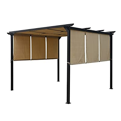 Great Deal Furniture Dione Outdoor Steel Framed 10' by 10' Gazebo, Beige