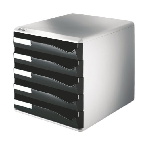 Leitz Post Set Filing Unit with 5 Drawers A4 W291xD352xH291mm Black and Grey Ref 5280-95 by Leitz