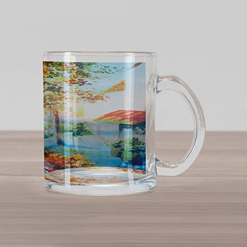 Glass Mug, Summer House Sea Mountain Terrace Trees and Flower Bed in Autumn, Printed Clear Glass Coffee Mug Cup for Beverages Water Tea Drinks, Pale Blue Pink and Green ()