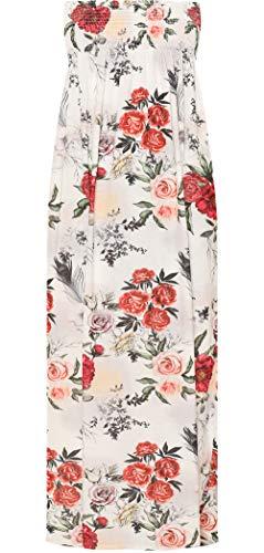 Fronces Femmes Wearall Bout Droit Imprimé Floral De Dames Robe Maxi Bardot Épaule Nouvelle Crème Rouge 8-14