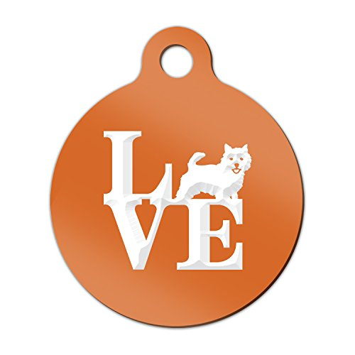 Norwich Terrier Keychain - Love Norwich Terrier Engraved Keychain / Round Tag with Tab Mister Petlife park Orange