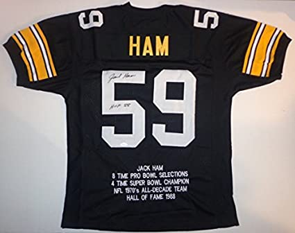 2d2262e62 Image Unavailable. Image not available for. Color  Jack Ham - Hand Signed  Autographed Football Stat Jersey ...