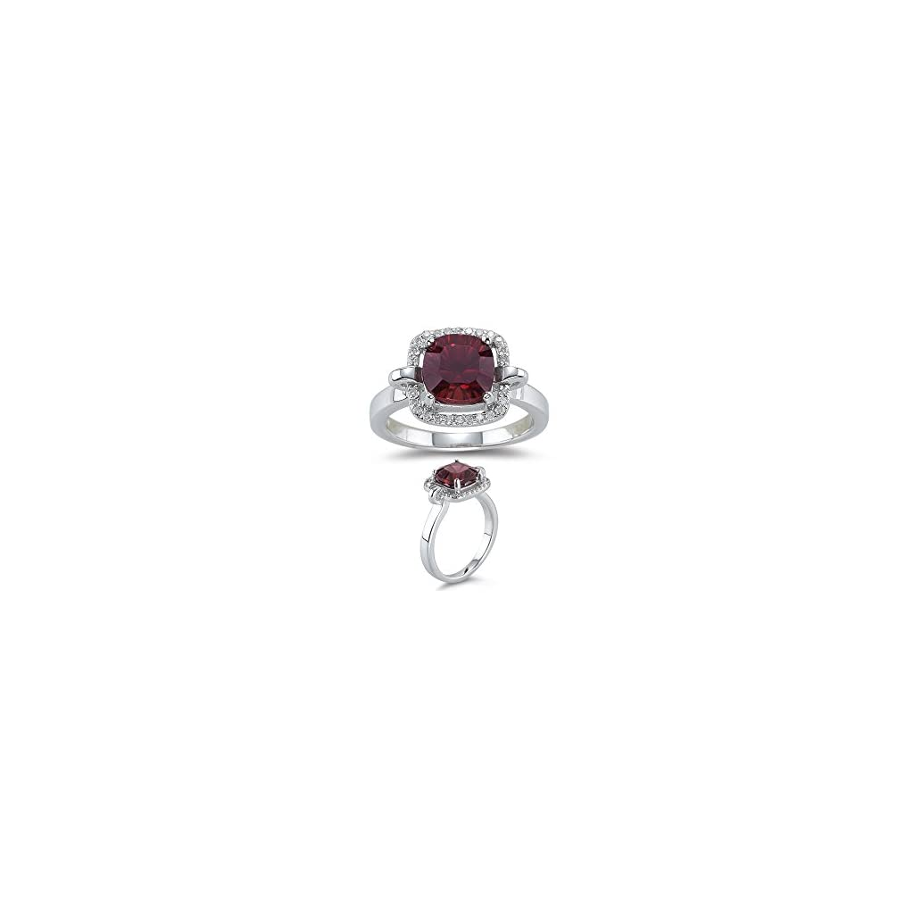 Vogati 2.95 Ct Diamond & 8mm AAA Cushion Concave Garnet Ring in 14K White Gold