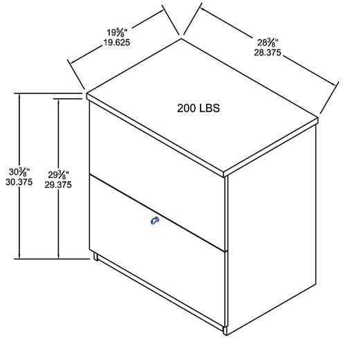 28'' W Two Drawer Lateral File