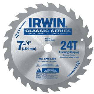 "Irwin 25130 Classic Series Circular Saw Blade 24T 7-1/4"" (Pack of 10)"