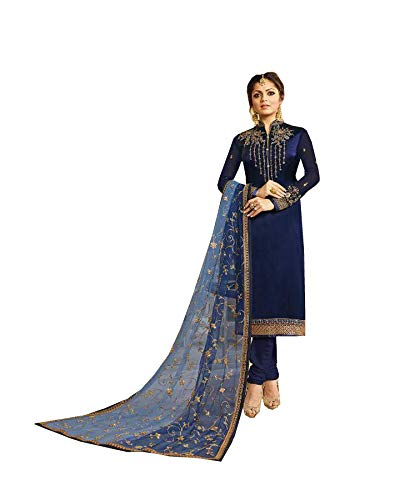 (Queen Fashion New Indian/Pakistan Collectoin Woman Straight Salwar Kameez Suit Style LT 3201-3207 (Blue, OX-48))