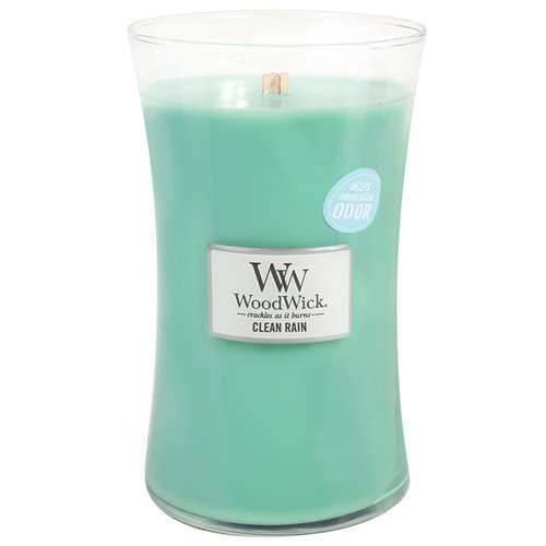Woodwick, Candela profumata in Barattolo, Grande, Aroma: Clean Rain, Blu (Blue) 93098