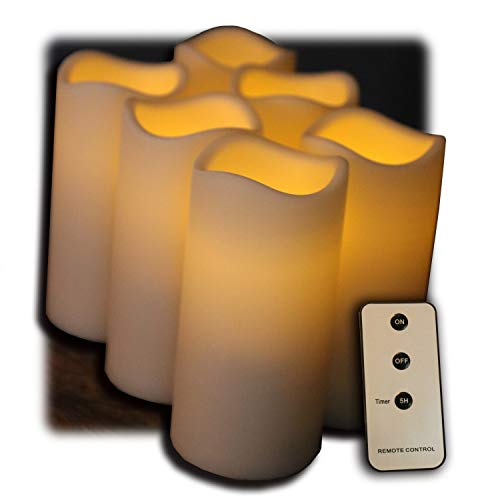 Set of 6 Outdoor 3x6 Waterproof Resin Candles
