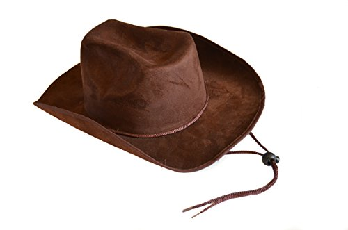 Child Cowboy Hat (Children's Dark Brown Felt Cowboy Hat with Drawstring)