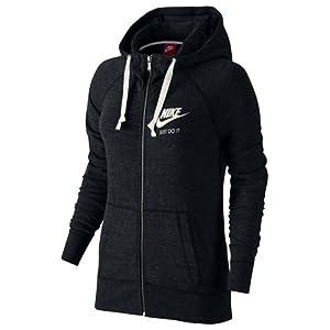 Nike Womens Gym Vintage Full Zip Hooded Sweatshirt Black/Sail 726057-010 Size X-Small