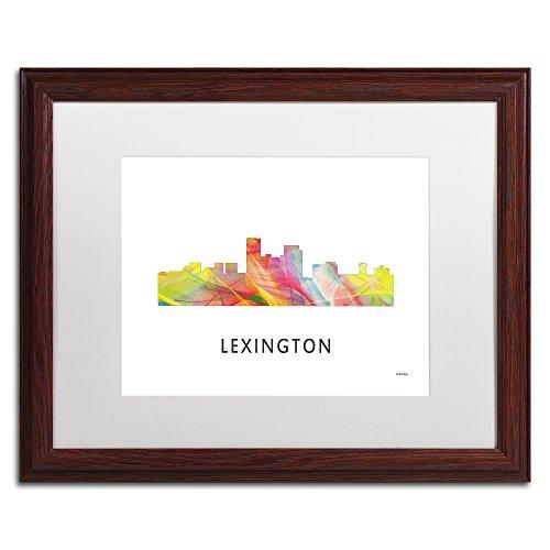 Lexington Kentucky Skyline WB-1 by Marlene Watson, White Matte, Wood Frame ()